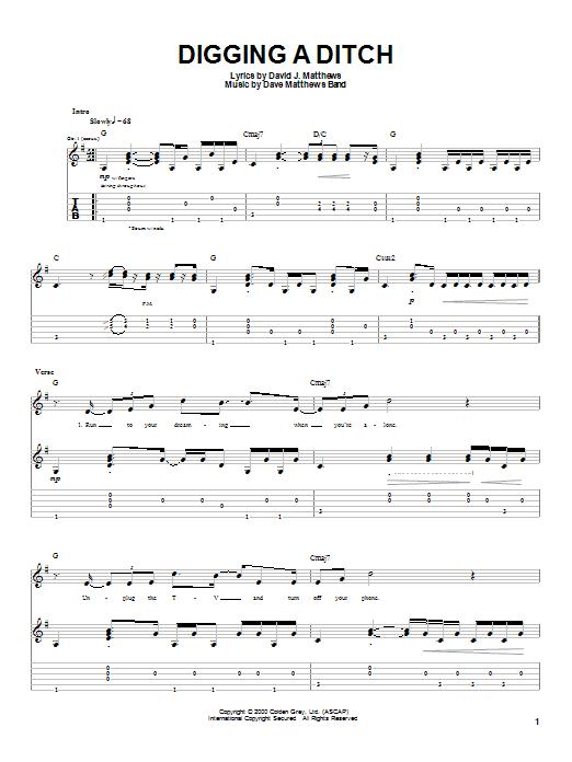 Tablature guitare Digging A Ditch de Dave Matthews Band - Tablature Guitare