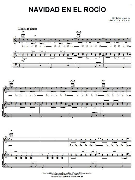 Navidad En El Rocío (Piano, Vocal & Guitar (Right-Hand Melody))