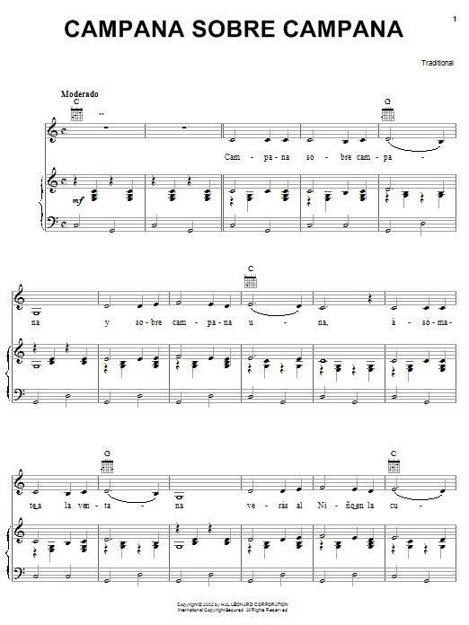 Partition piano Campana Sobre Campana de Christmas Carol - Piano Voix Guitare (Mélodie Main Droite)