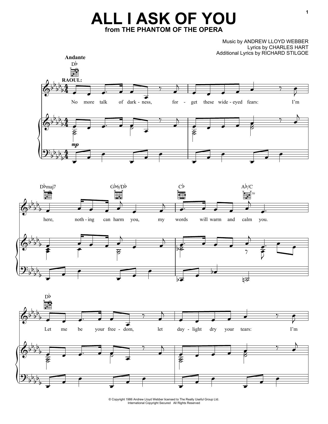 All I Ask Of You Sheet Music