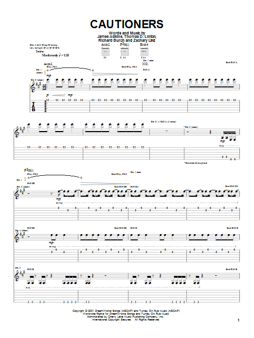 Cautioners Sheet Music