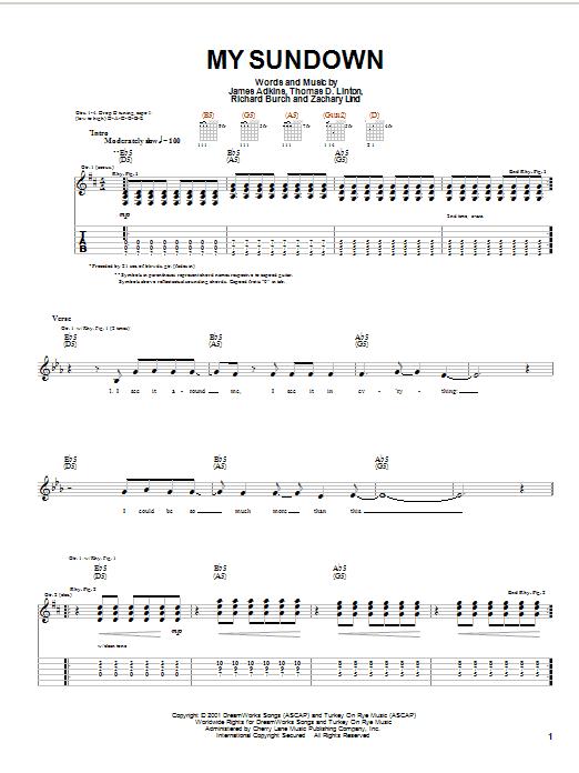 Tablature guitare My Sundown de Jimmy Eat World - Tablature Guitare