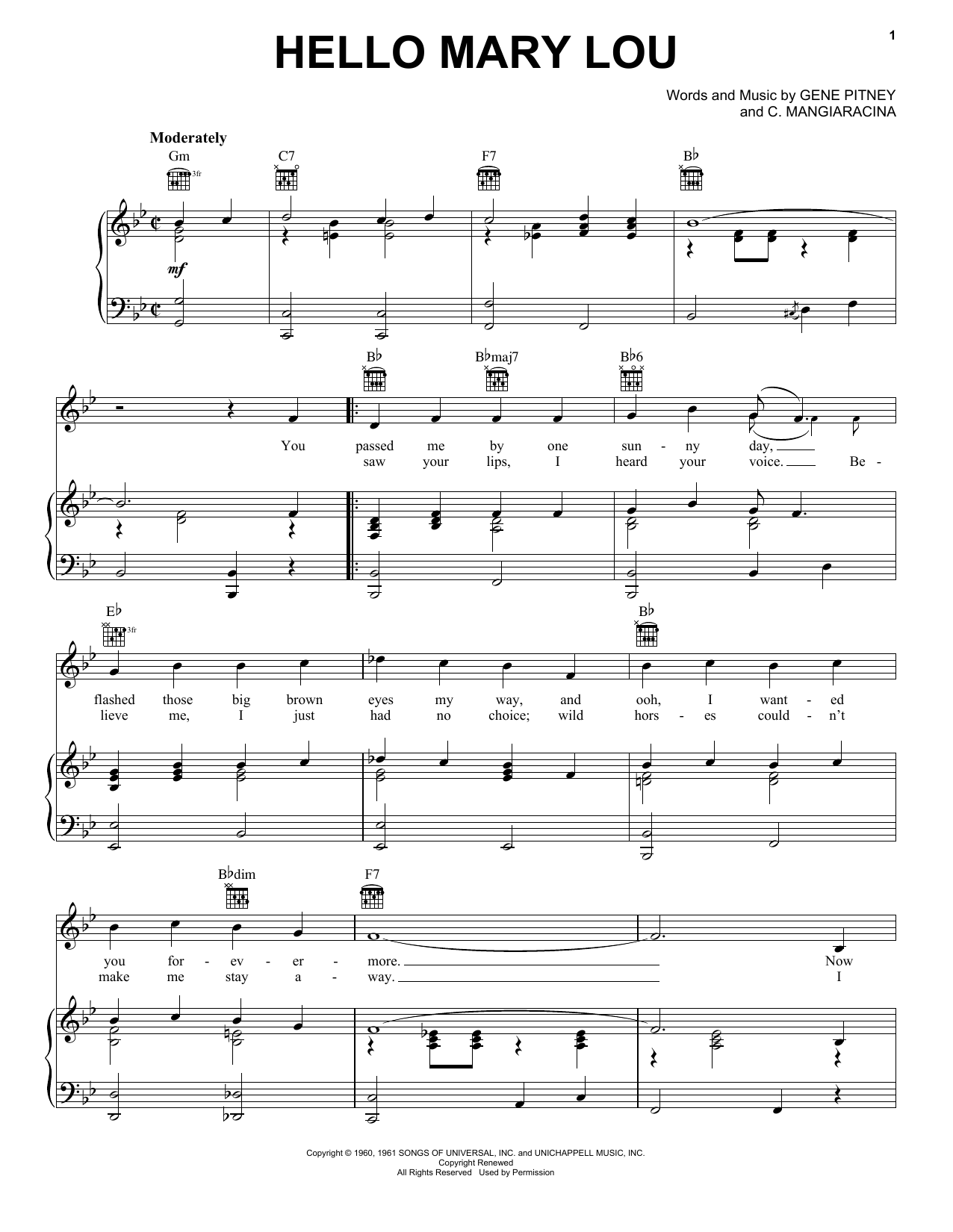 Hello Mary Lou Sheet Music