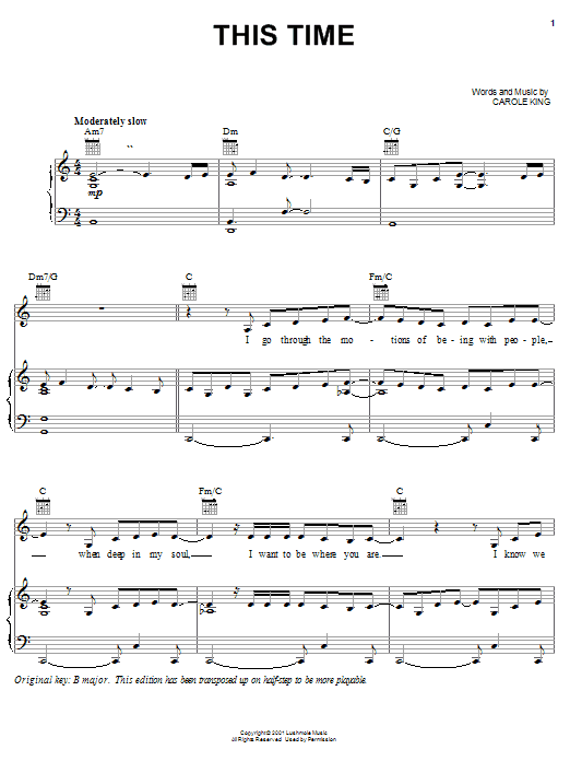 This Time (Piano, Vocal & Guitar (Right-Hand Melody))