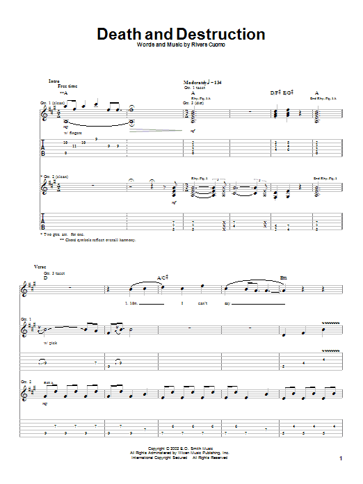 Death And Destruction Sheet Music