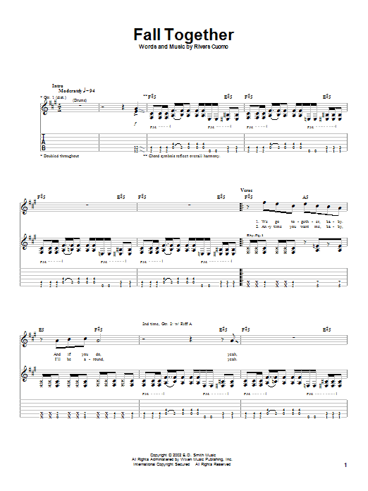 Tablature guitare Fall Together de Weezer - Tablature Guitare