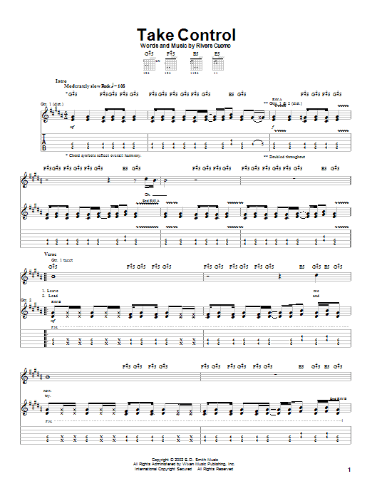 Take Control Sheet Music