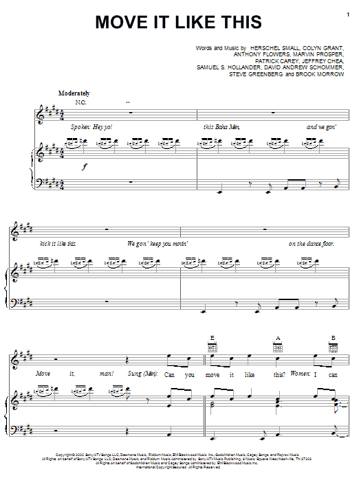 Move It Like This (Piano, Vocal & Guitar (Right-Hand Melody))