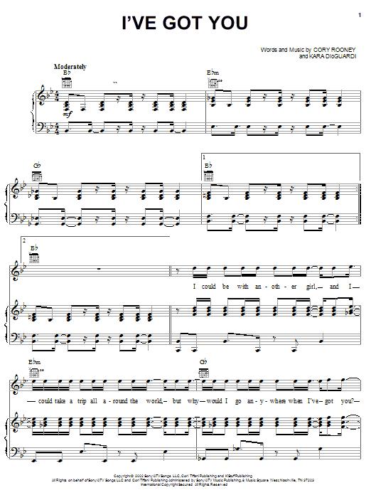 Partition piano I've Got You de Marc Anthony - Piano Voix Guitare (Mélodie Main Droite)