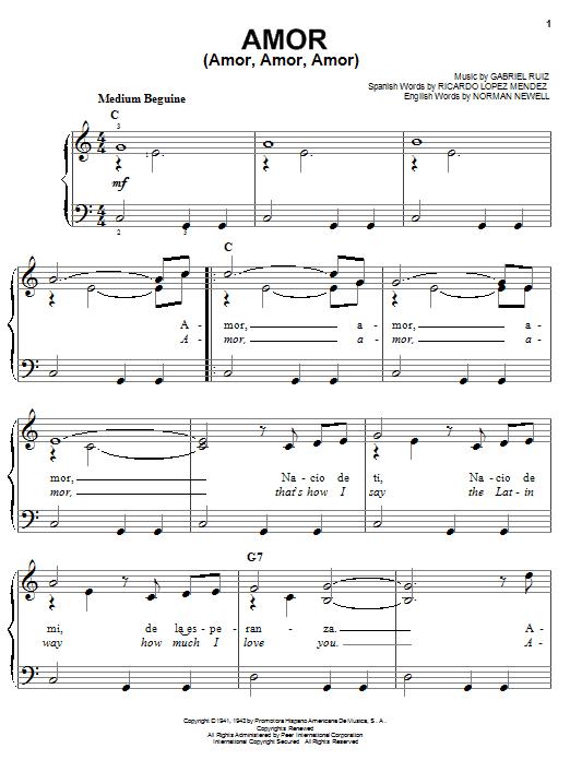 Partition piano Amor (Amor, Amor, Amor) de Gabriel Ruiz - Piano Facile