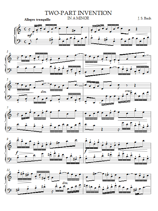 Two-Part Invention in A Minor Sheet Music
