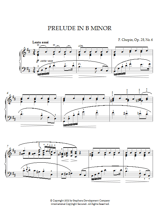 Prelude In B Minor, Op. 28, No. 6 Sheet Music