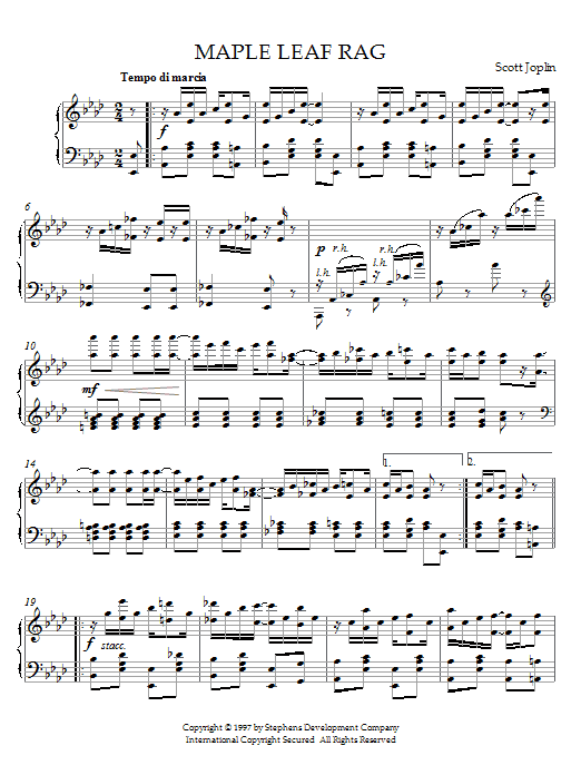 Partition piano Maple Leaf Rag de Scott Joplin - Piano Solo