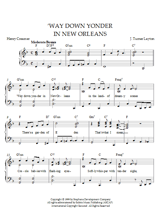 Partition piano Way Down Yonder In New Orleans de Louis Armstrong - Piano Solo