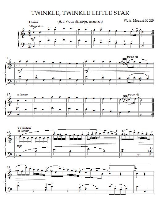 Partition piano Twinkle, Twinkle, Little Star (Ah! Vous dirai-je, maman) Theme de Wolfgang Amadeus Mozart - Piano Solo