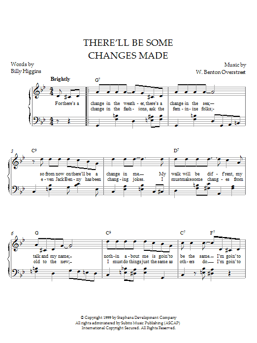 Partition piano There'll Be Some Changes Made de Overstreet - Piano Solo