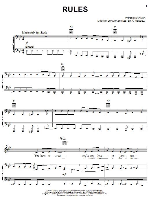 Partition piano Rules de Shakira - Piano Voix Guitare (Mélodie Main Droite)