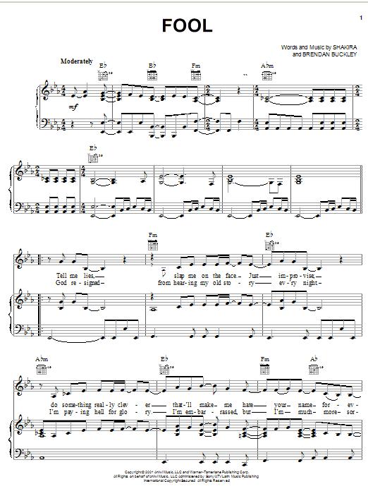 Fool Sheet Music