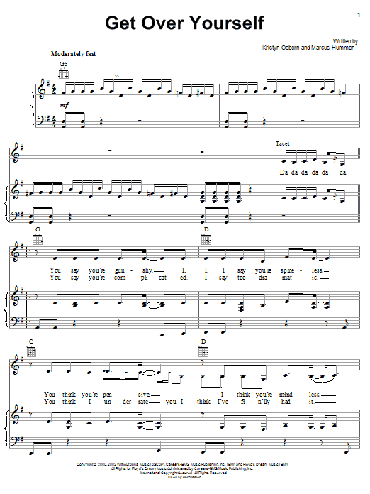 Get Over Yourself (Piano, Vocal & Guitar (Right-Hand Melody))