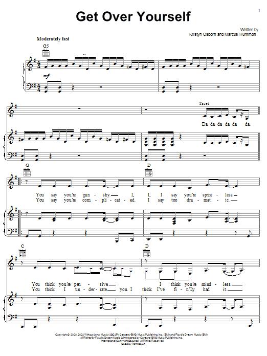 Partition piano Get Over Yourself de SHeDAISY - Piano Voix Guitare (Mélodie Main Droite)