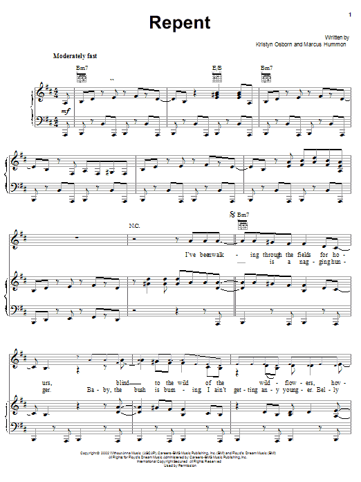 Repent (Piano, Vocal & Guitar (Right-Hand Melody))