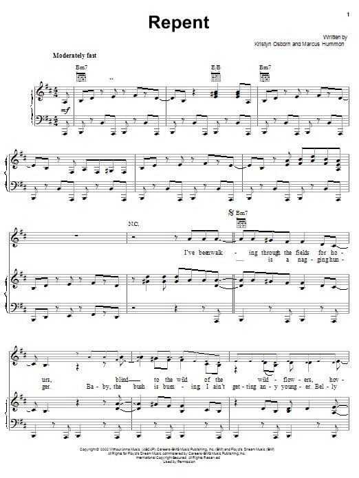 Partition piano Repent de SHeDAISY - Piano Voix Guitare (Mélodie Main Droite)