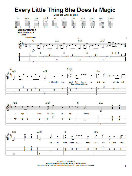 Every Little Thing She Does Is Magic By The Police Easy Guitar Tab