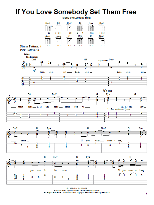 Tablature guitare If You Love Somebody Set Them Free de Sting - Tablature guitare facile