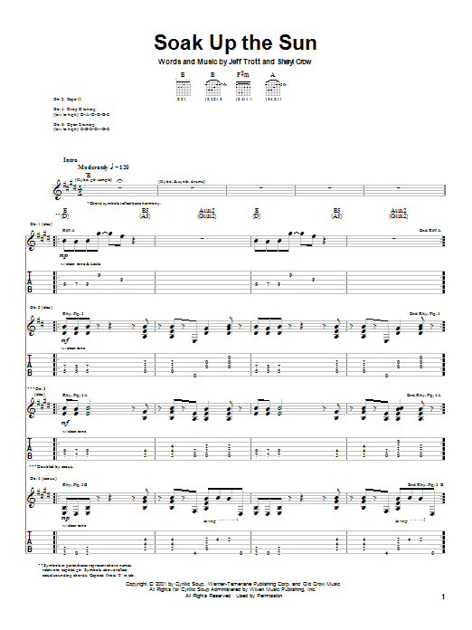 Tablature guitare Soak Up The Sun de Sheryl Crow - Tablature Guitare