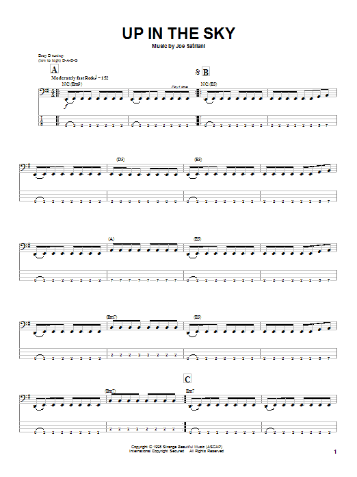 Tablature guitare Up In The Sky de Joe Satriani - Tablature Basse