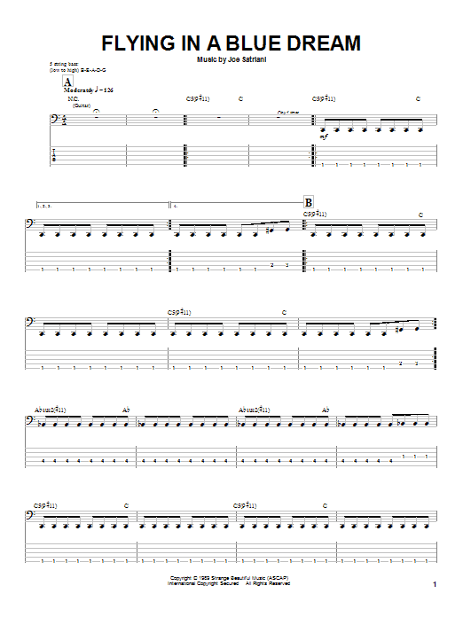 Tablature guitare Flying In A Blue Dream de Joe Satriani - Tablature Basse