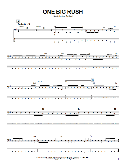 One Big Rush (Bass Guitar Tab)