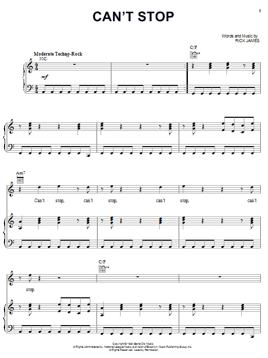 Can't Stop (Piano, Vocal & Guitar (Right-Hand Melody))