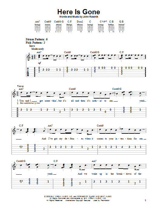 Tablature guitare Here Is Gone de Goo Goo Dolls - Tablature guitare facile