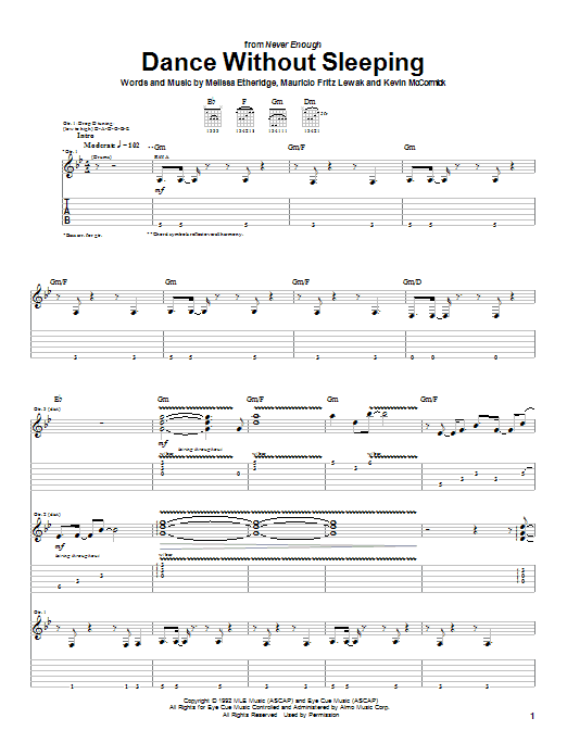 Tablature guitare Dance Without Sleeping de Melissa Etheridge - Tablature Guitare