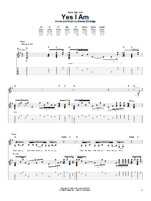 Tablature guitare Yes I Am de Melissa Etheridge - Tablature Guitare