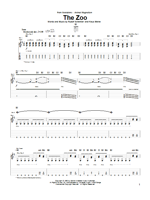 Tablature guitare The Zoo de Scorpions - Tablature Guitare