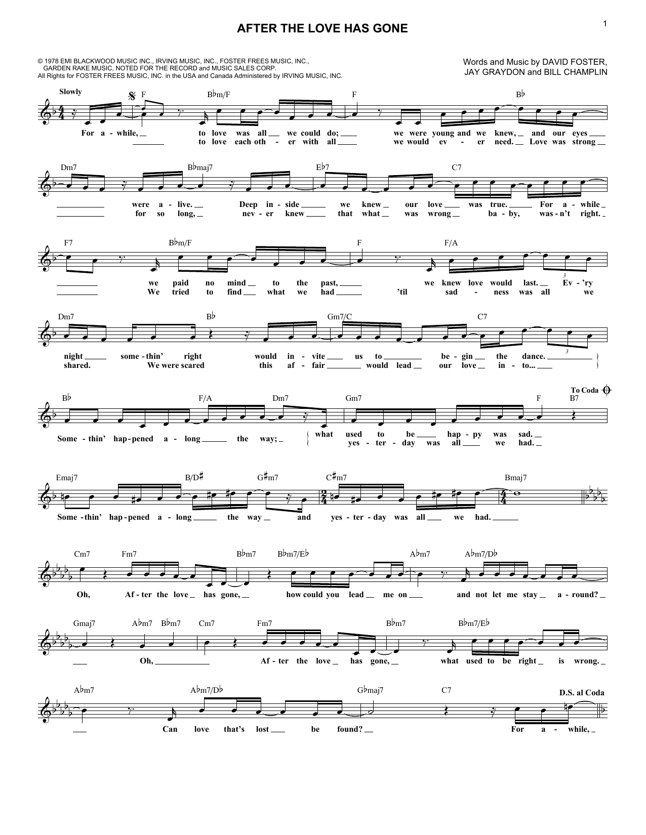 After The Love Has Gone (Lead Sheet / Fake Book)