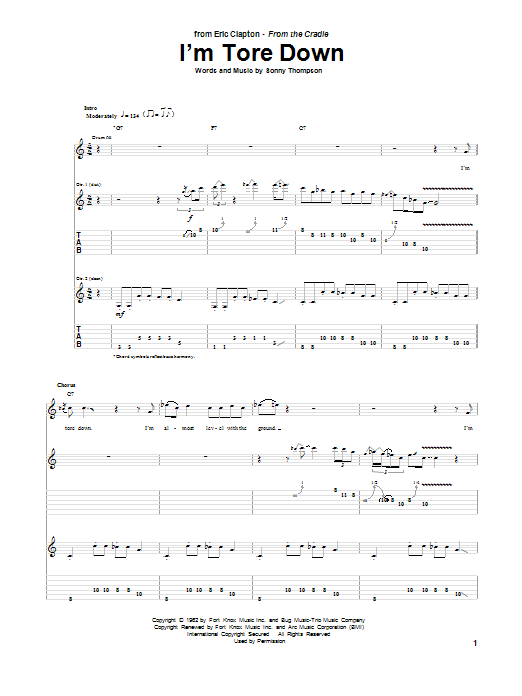 Tablature guitare I'm Tore Down de Eric Clapton - Tablature Guitare