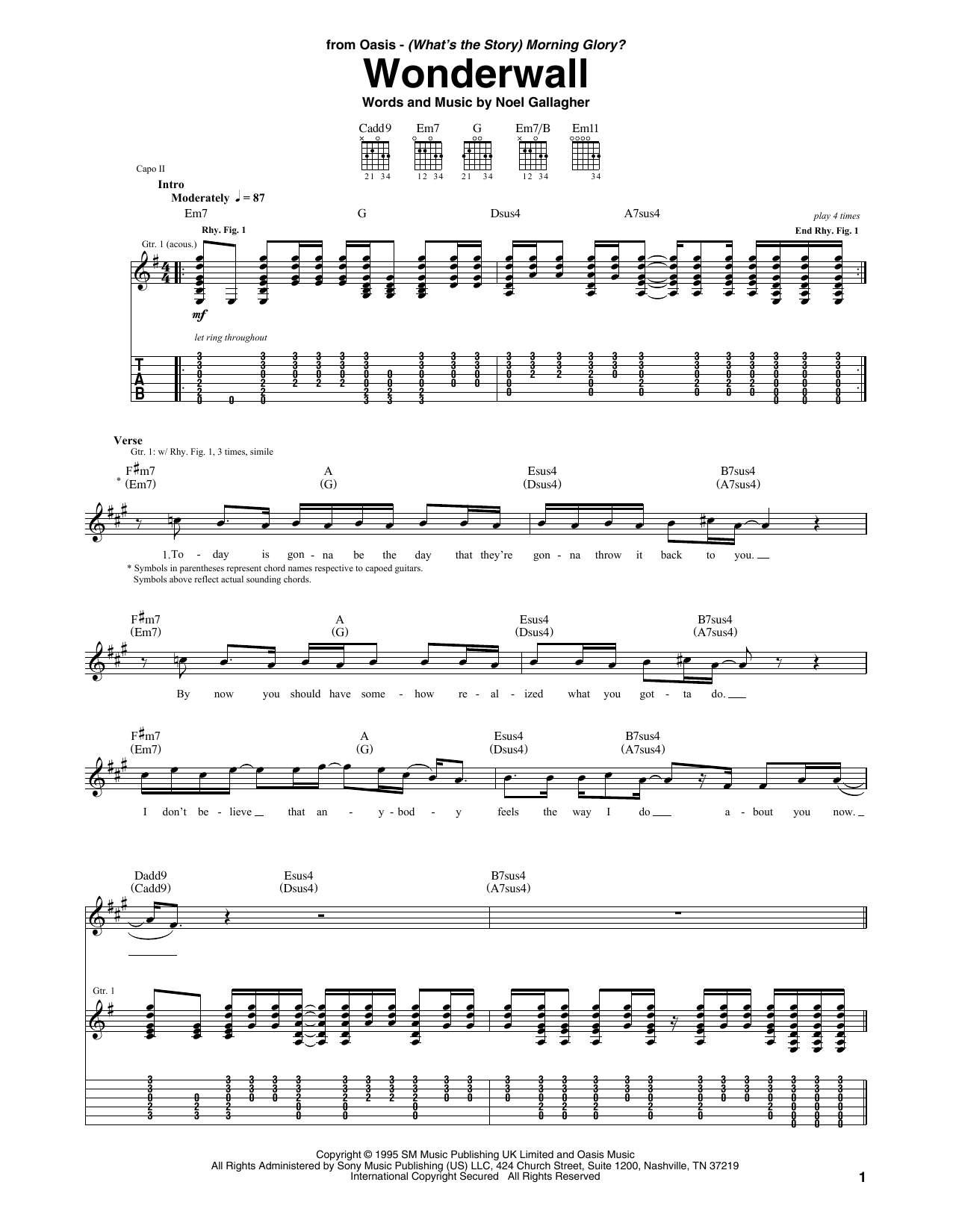 Tablature guitare Wonderwall de Oasis - Tablature Guitare