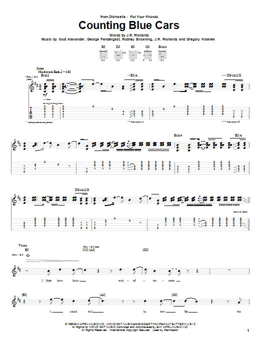 Counting Blue Cars Sheet Music