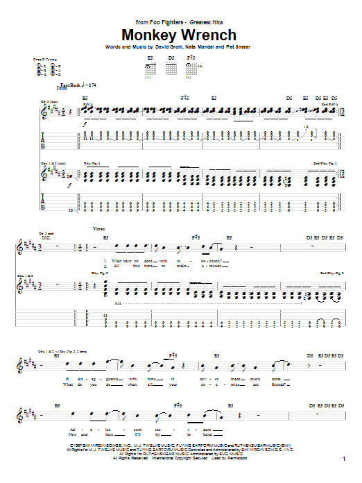 Monkey Wrench (Guitar Tab)