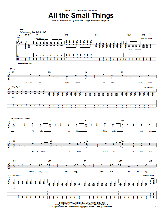 All The Small Things Sheet Music Blink 182 Guitar Tab