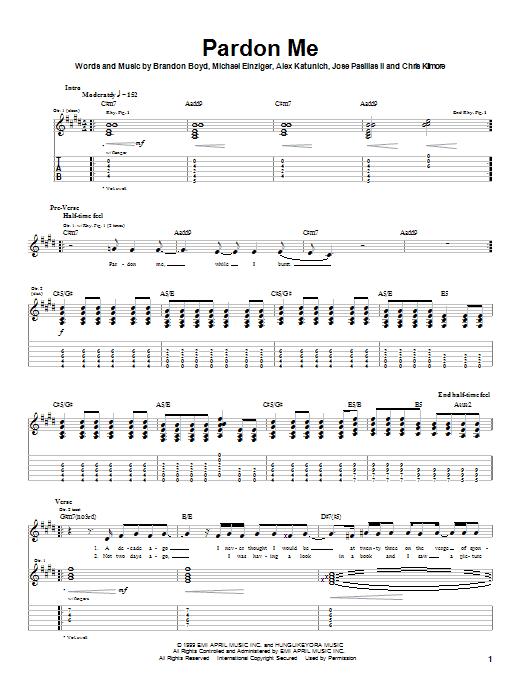 Incubus  Pardon Me Bass  AZ Chords  GUITAR TABS amp CHORDS