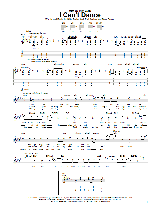 I can 39 t dance by genesis guitar tab guitar instructor for Psychologie nc liste