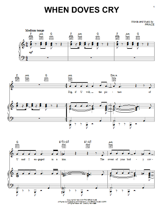 When Doves Cry Sheet Music