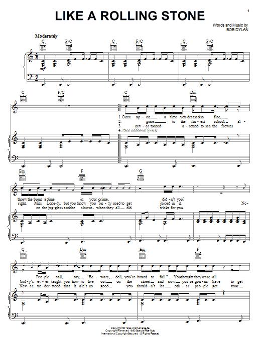 Partition piano Like A Rolling Stone de Bob Dylan - Piano Voix Guitare (Mélodie Main Droite)