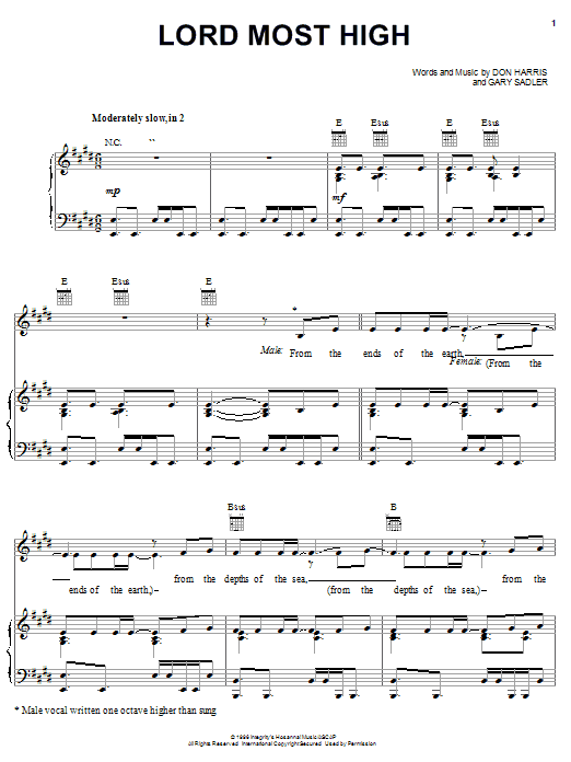 Lord Most High (Piano, Vocal & Guitar (Right-Hand Melody))