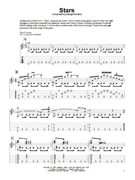 Tablature guitare Stars de George Winston - Tablature Guitare