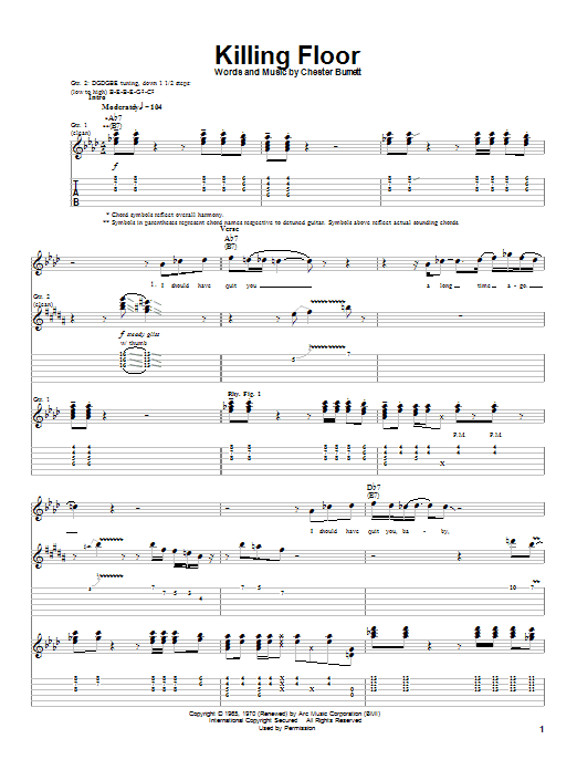 Tablature guitare Killing Floor de Howlin' Wolf - Tablature Guitare